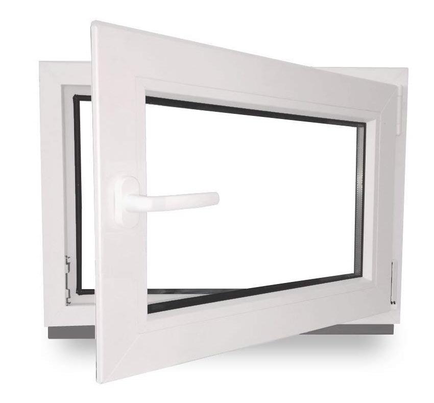 Kellerfenster DIN rechts Lagerware Kunststoff wei/ß Fenster 2-fach-Verglasung BxH: 90 x 55 cm