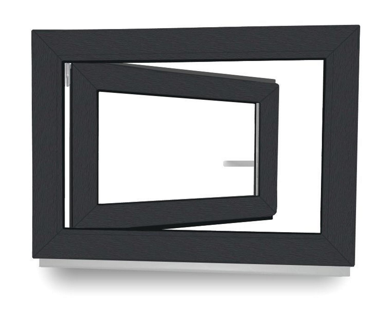 anthrazit//wei/ß Kellerfenster BxH: 100 x 60 cm Kunststoff DIN Rechts Fenster