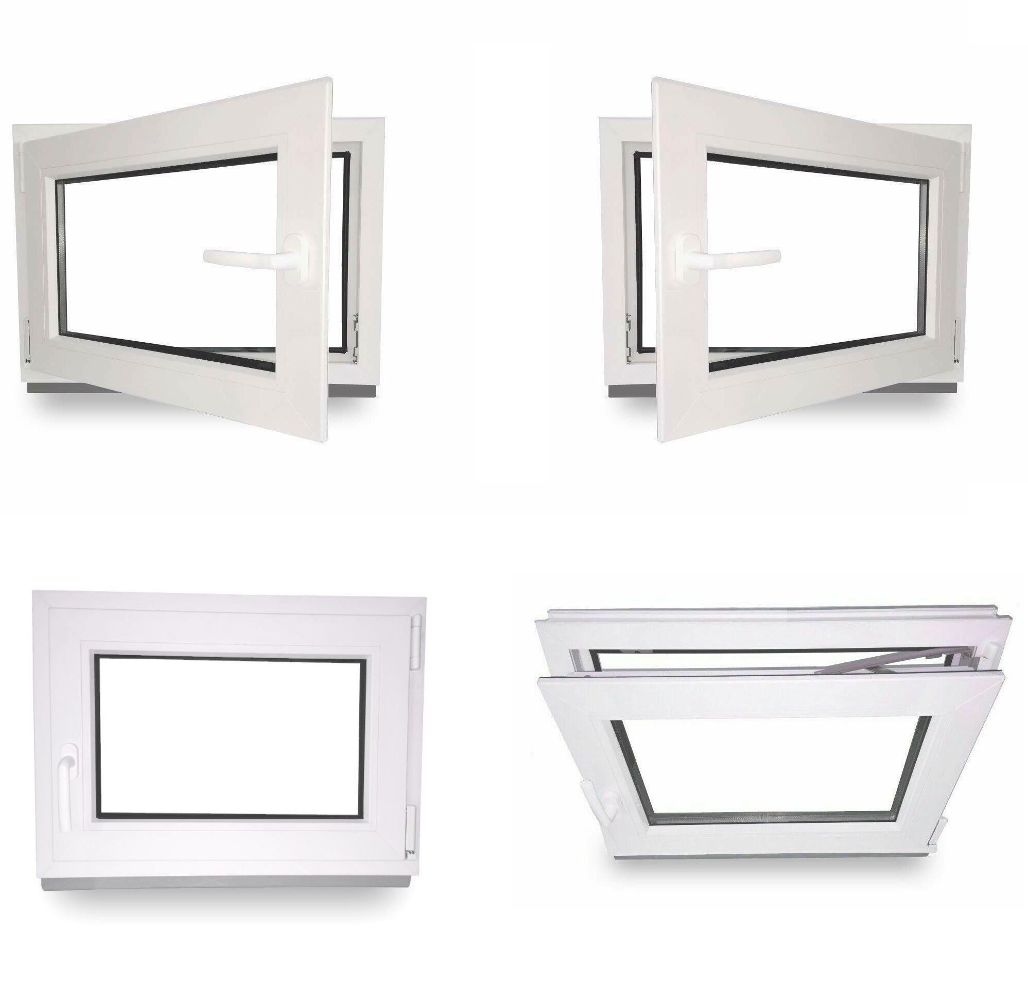 schneller Versand 2-fach-Verglasung verschiedene Ma/ße BxH: 65x45 cm DIN rechts Kunststoff Fenster Kellerfenster wei/ß 60mm Profil