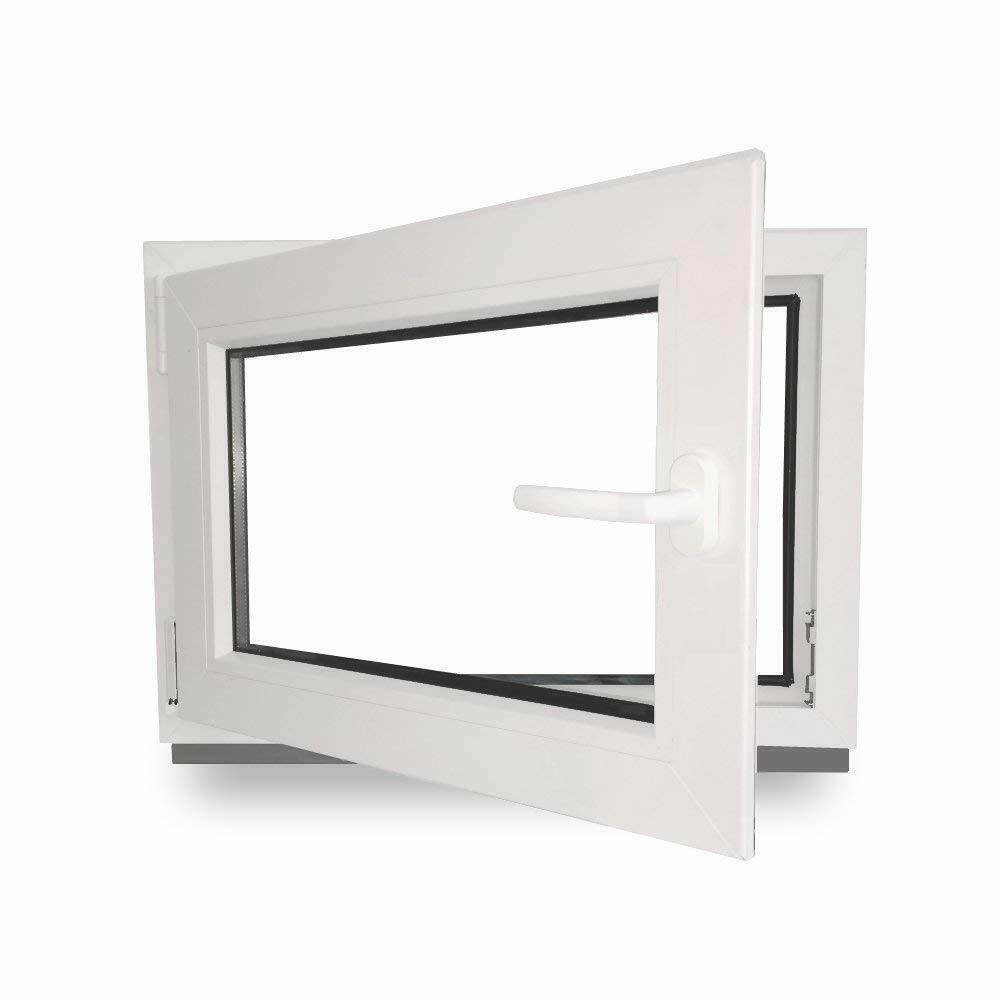 Premium 95 cm 2 fach Verglasung Alle Gr/ö/ßen Dreh Kipp Wei/ß Fenster Kellerfenster Kunststofffenster Breite BxH 95x70 DIN links