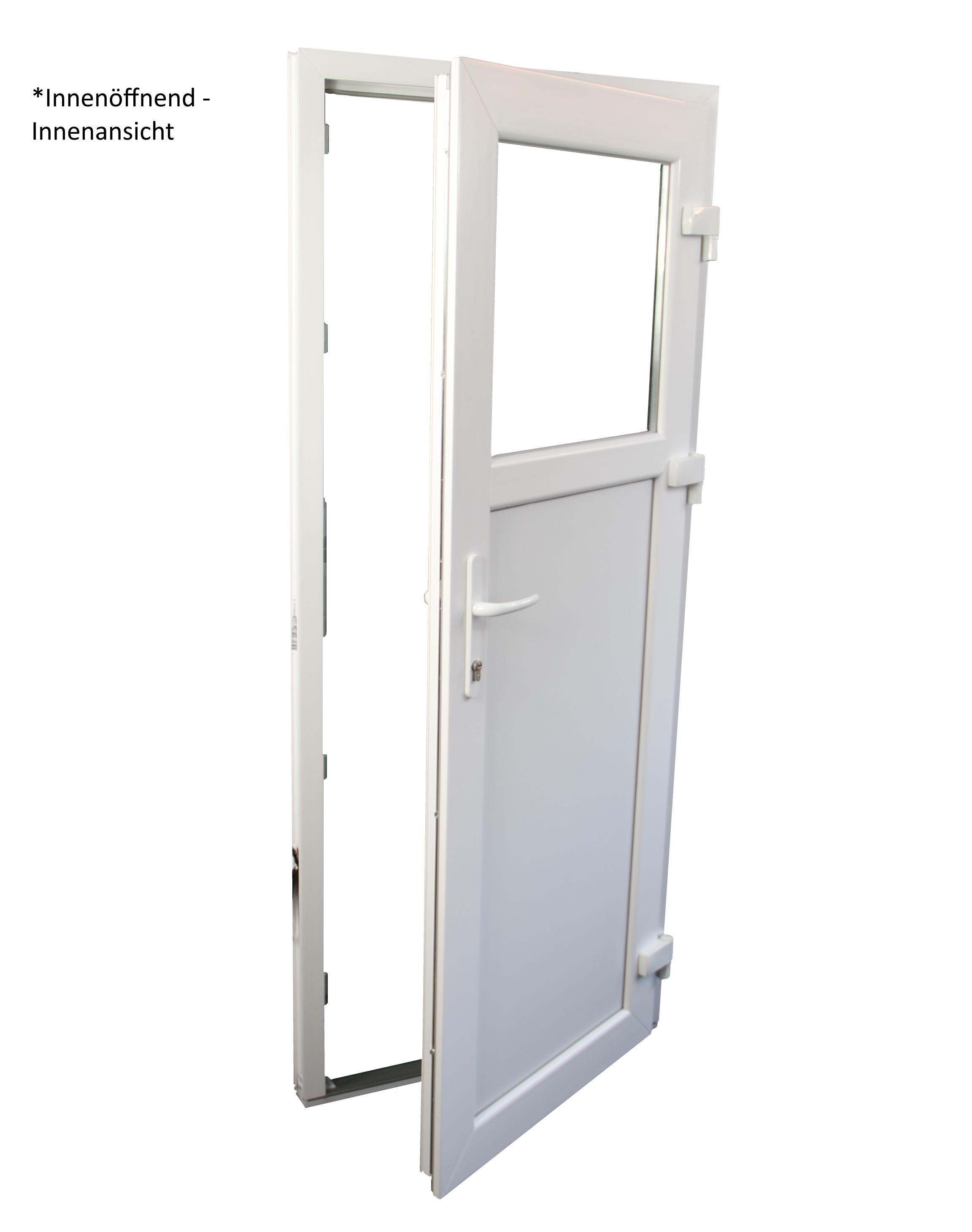 DIN Rechts verschiedene Ma/ße 90 x 190 cm wei/ß Innen/öffnend Nebeneingangst/ür mit Dr/ückergarnitur 2-fach-Verglasung